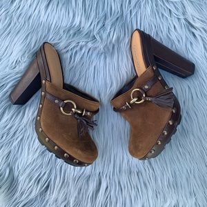 Coach Rana Studded Leather Platform Mule Clog